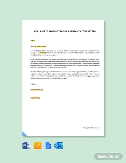 Free Real Estate Administrative Assistant Cover Letter Template
