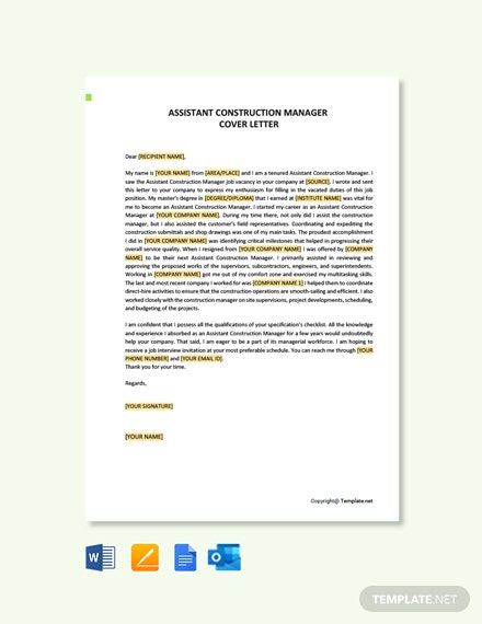 Assistant Construction Manager Cover Letter Template