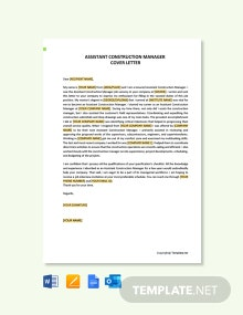 Free Assistant Construction Manager Cover Letter Template