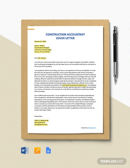 Free Construction Accountant Cover Letter Template