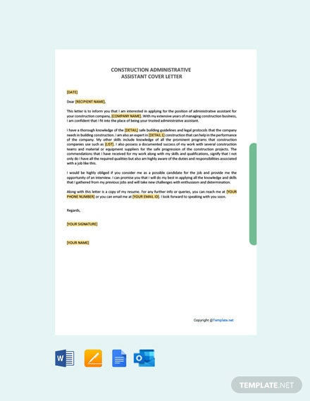 Construction Administrative Assistant Cover Letter Template