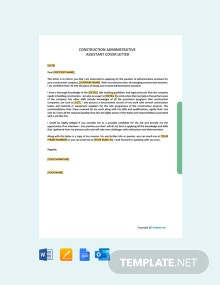 Free Construction Administrative Assistant Cover Letter Template