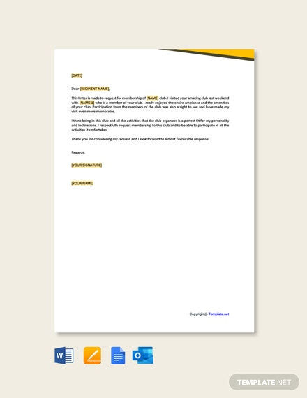 Free Sample Application Letter for Club Membership Template