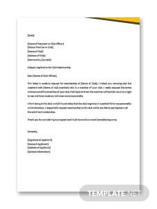 Sample Application Letter for Club Membership Template