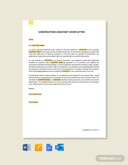 Construction Assistant Cover Letter Template