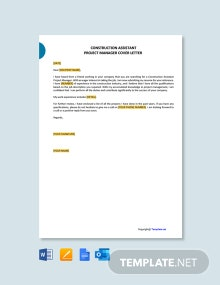 Free Construction Assistant Project Manager Cover Letter Template