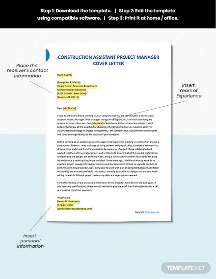 FREE Construction Assistant Project Manager Cover Letter ...