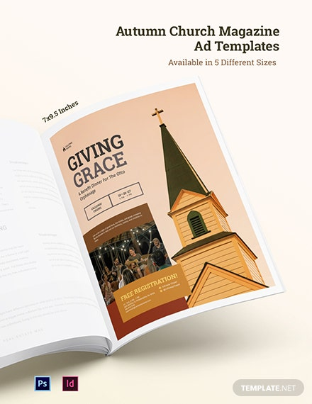 Free Autumn Church Magazine Ads Template