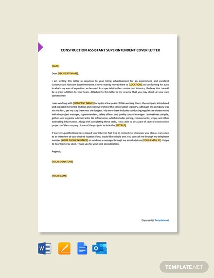 Free Construction Assistant Superintendent Cover Letter Template
