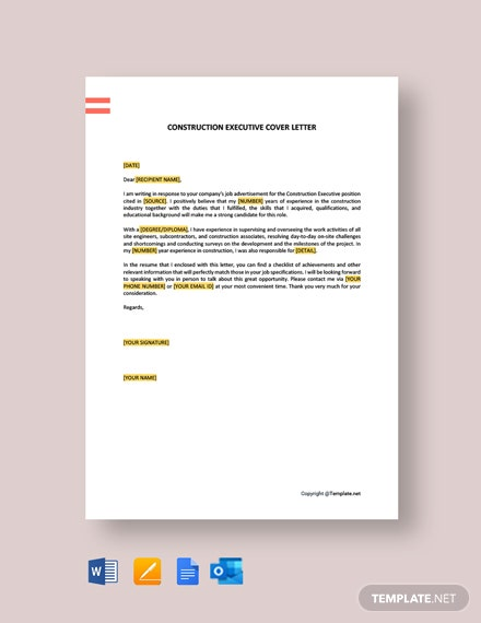 Free Construction Executive Cover Letter Template