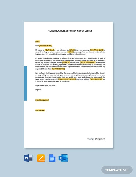 FREE Construction Attorney Cover Letter Template