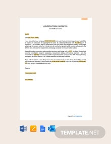 Free Construction Carpenter Cover Letter Template