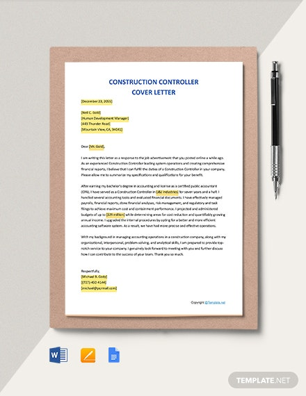 FREE Construction Controller Cover Letter - Word | Apple ...
