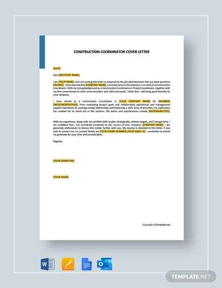 Construction Coordinator Cover Letter Template