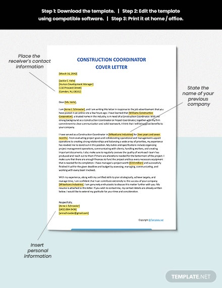 FREE Construction Coordinator Cover Letter - Word | Apple ...