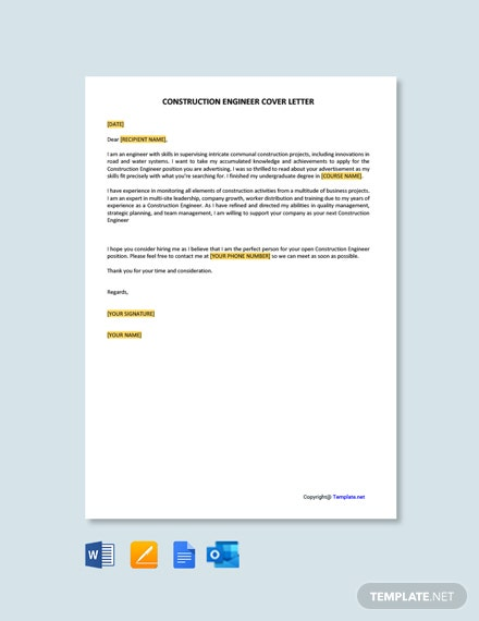 Free Construction Engineer Cover Letter Template