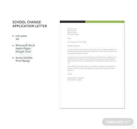 Free School Change Application Letter Template