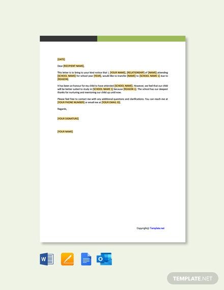 School Change Application Letter Template
