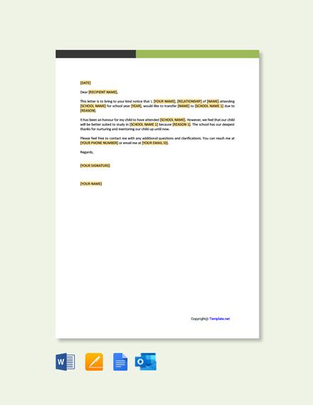 Free School Change Application Letter Template