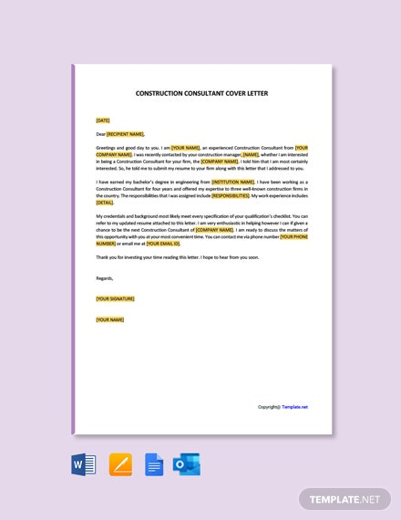 Free Construction Consultant Cover Letter Template
