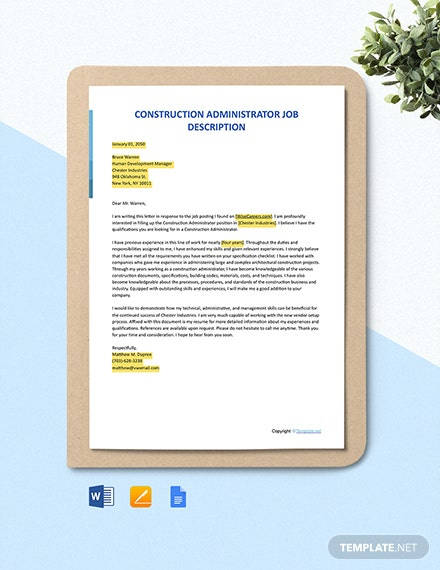 Free Construction Administrator Cover Letter Template