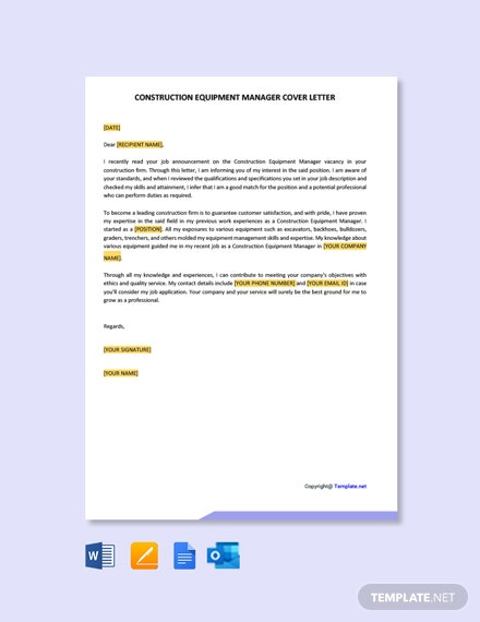 Free Construction Equipment Manager Cover Letter Template