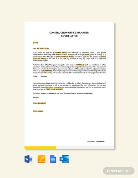 Construction Office Manager Cover Letter Template