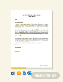 Free Construction Office Manager Cover Letter Template