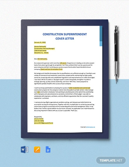 Free Construction Superintendent Cover Letter Template