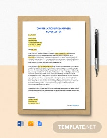 Free Construction Site Manager Cover Letter Template