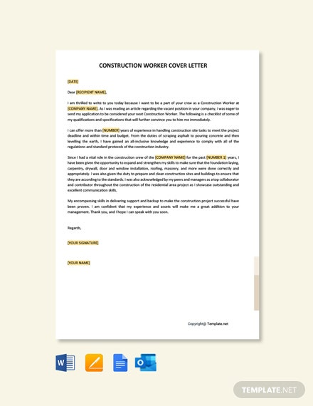 Construction Worker Cover Letter Template