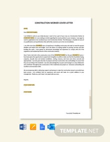 Free Construction Worker Cover Letter Template