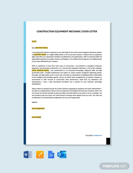 Construction Equipment Mechanic Cover Letter Template