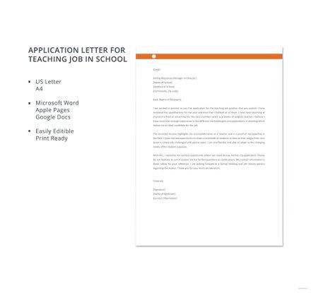Free Application Letter for Teaching Job in School