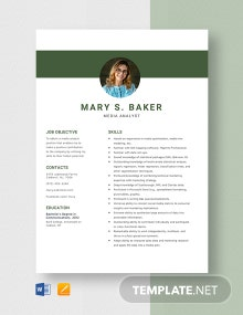 Media Analyst Resume Template