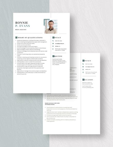 Media Assistant Resume Download
