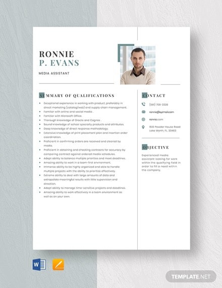 Media Assistant Resume Template