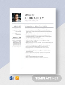 Public Health Analyst Resume Template