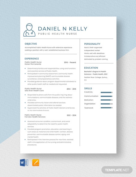 Public Health Nurse Resume Template