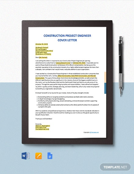 Free Construction Project Engineer Cover Letter Template