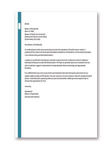 Application Letter for Teacher Job for Fresher Template