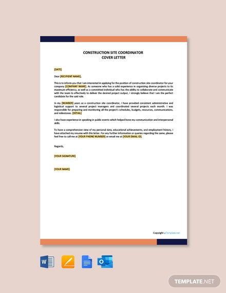 Construction Site Coordinator Cover Letter Template