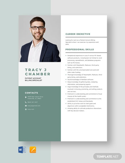 Patient Account Billing Specialist Resume Template