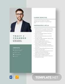 Patient Account Billing Specialist Resume Template
