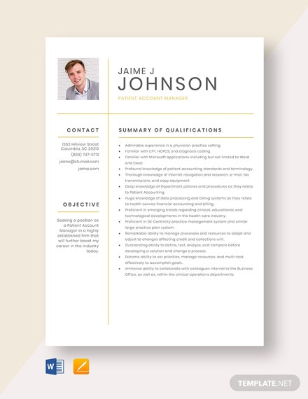 Patient Account Manager Resume Template