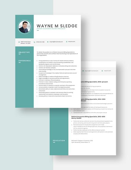 Patient Accounts Billing Specialist Resume Download