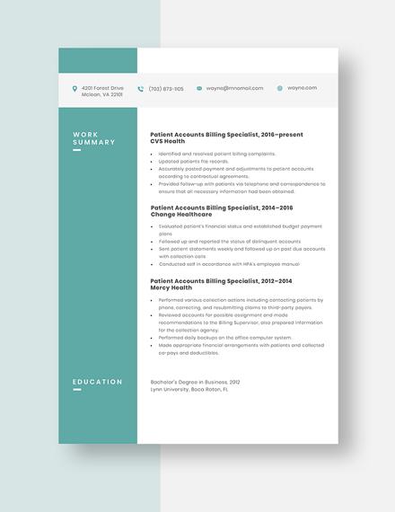 Patient Accounts Billing Specialist Resume Template
