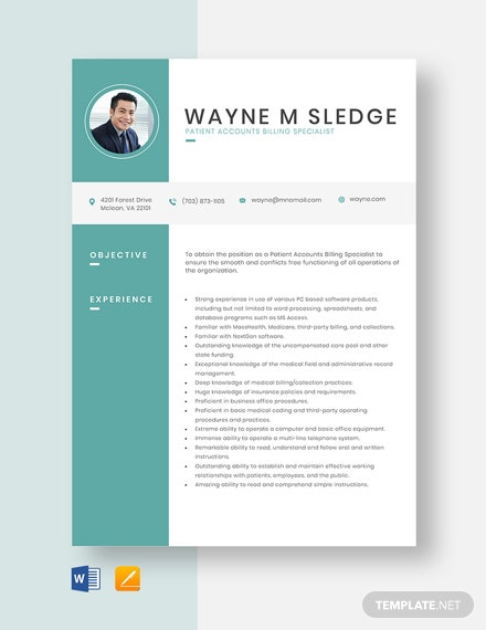 Patient Accounts Billing Specialist Resume Template