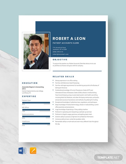 Patient Accounts Clerk Resume Template