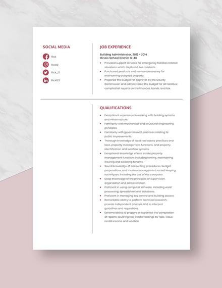 Building Administrator Resume Template